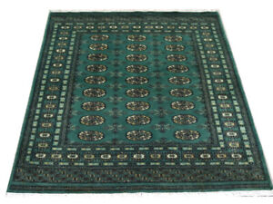 Bokhara Rug Green Original Fine Quality Hand Knotted Oriental Wool Rug 124x194cm