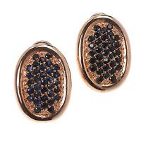 Damen Omega Ohrclips echt Silber 925 Sterling rosegold gold mit Saphir Ohrringe