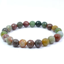 Bloodstone Faceted 8 mm Beads Crystal Stone Bracelet