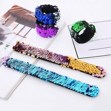 Mermaid Sequin Bracelet Snap Wristband Giltter Womens Reversible Jewelry Gifts