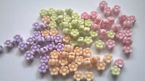 Small Acrylic Flower Beads Various Colours