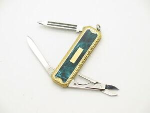 Vtg Parker Big Horn Seki Japan Green Marble Small Gentleman Folding Pocket Knife