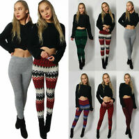 Ladies Knitted Winter Colourful Legging Soft Warm Wool pant Christmas Xmas Gift