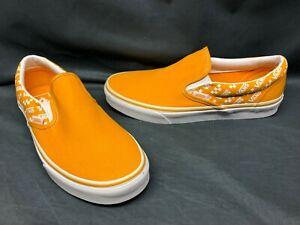 Vans Men's Classic Slip-On Casual Sneakers Logo Repeat Orange White Size 8.5 NEW