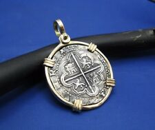 Grade 1 Colonial Era Authentic Spanish Pirate Coin With Custom 14k Gold Bezel
