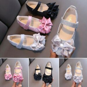 School Faux Leather Shoes Bow Princess Girls Party Dance Flats Kids Bling Shoes