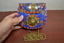 GOLD TURQUOISE RED CORAL BLUE LAPIZ LOOK HANDMADE METAL PURSE T-1181F