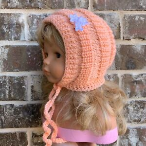 Baby Girl Knit Handmade Hat Bonnet Salmon Size 4-10 Months