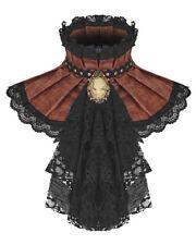 Punk Rave Womens Steampunk Jabot Collar Cravat Tie Brown Lace Gothic Aristocrat