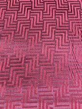 Pink Purple CUT VELVET HOME DECOR UPHOLSTERY FABRIC GEOMETRIC Design (1.5 Yards)