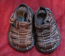 Newborn SZ 2 Faded Glory brown baby sandals easy close reborn doll fits 3-6 mo