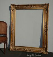 "Large Ornate 60""H x 48"" Vintage French Provincial Gold Picture Frame"