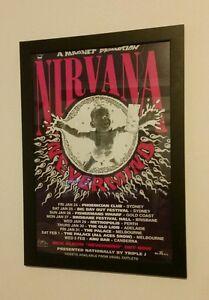 NIRVANA AUSTRALIAN TOUR 1992 Framed Poster not cd lp vinyl shirt