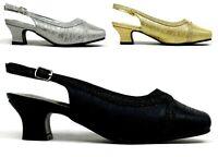 Women Ladies Buckle Slip On Mid Heel wedding evening party Sandals UK Size 3-8