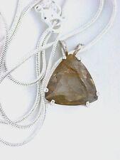 14mm Trilliant Rutilated Quartz Gemstone Sterling Pendant Necklace FREE Chain