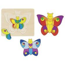Puzzle en bois 4 papillons 4 couches 4 couleurs- jeux et  jouets en bois- GOKI**