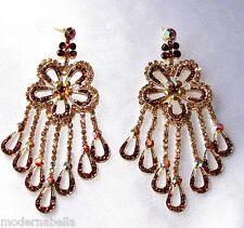 Flamenco orecchini lunghi oro Strass,zircone,cristalli,da Donna,oro fiore