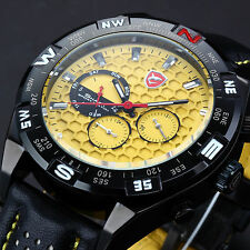 SHARK Luxury Mens Date Day Alloy Case Black Yellow Leather Sport Quartz Watch