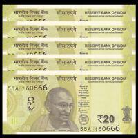 Lot 5 PCS, India 20 Rupees, 2019, P-New, UNC, 1/20 Bundle