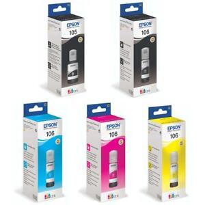 Genuine Epson 105 & 106, Ink Bottle, Ecotank ET-7700, Ecotank ET-7750, LOT