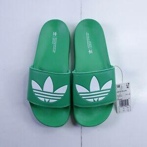 Size 10 Men's adidas Adilette Lite Slide Sandals FX5909 Vivid Green/White