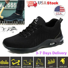 Mens black Safety Shoes Mesh Lightweight Ankle Breathable Steel Toe Work Sneaker