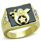 Black Jet Onyx Men's Freemason Ring Stainless Steel 31614kt IP 8-14