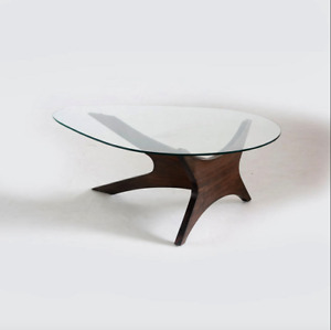 Glass and wood oval coffee table