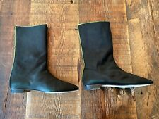 "MANOLO BLAHNIK Black Satin 12"" Boots w/Lime Green Zip - Italy - Women's Size 10"