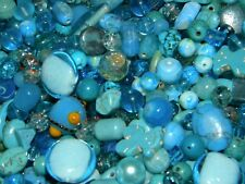NEW 6/oz LOT 6-25mm MIXED Shades of BLUES LOOSE BEADS LOT GLASS