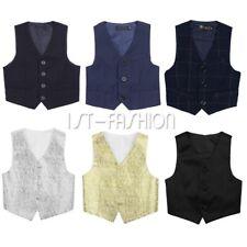Kids Boys Gentleman Formal Suit Vest Waistcoat Wedding  Formal Suit SZ 2-14Years