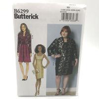 Butterick 6299 Womens Plus Size Sleeveless Dress Jacket Sz 18W 24W Uncut Pattern
