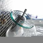 Bathroom Basin Water Tap Waterfall Copper Glass Mixer Bath Basin Sink Faucet