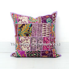 """Indian Patchwork Pillow Throw Purple Bohemian Cushion Cover 16X16"""" Inches Cases"""