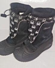 """Harsh Black """"Skully""""  Skull Girl's Winter Snow Lined Boots  - Black White Size 1"""
