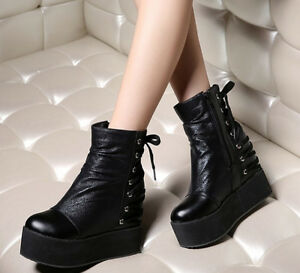 Womens Gothic Ankle Boots Ladies Platform Punk Hidden Wedge Heels Lace Up Shoes
