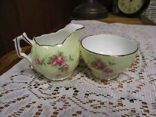 Aynsley Bone China Petite Sugar And Creamer  Gold Trim & Pink Roses on Yellow