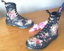 Dr Martens 1460 black victorian flowers canvas boots UK 3 EU 36