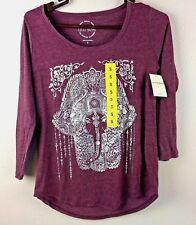 Lucky Brand Ladies' Elephant Hamsa Graphic Tee Shirt - PURPLE    N32