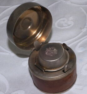 SUPER ANTIQUE TRAVELLING INKWELL + BOTTLE - VERY NICE INK WELL