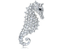 Animal Fashion Jewelry Pin Brooch Silver Crystal Rhinestone Seahorse Ocean Fish