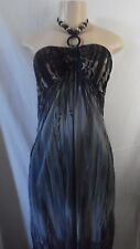 FLORAL GRAY BLACK LONG STRAPLESS NECKLACE DRESS MAXI  XS,S,M