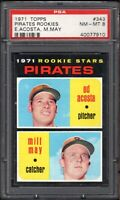 1971 TOPPS #343 PIRATES ROOKIE STARS ACOSTA/MAY PSA 8 NM/MT