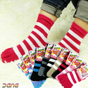 6 Pairs Womens Girls Cotton Striped Five Fingers Toe Ankle Socks Mixed Colors
