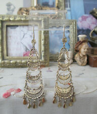 Vintage Gold Vermeil Mexican Filigree Dangling Frida Long Traditional Earring