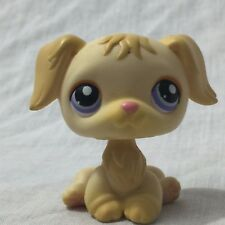 Littlest Pet Shop LPS #268 Golden Retriever Dog With Purple Eyes, Red Magnet Paw