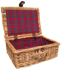 Traditional Natural Wicker Christmas Gift Hamper Basket & TARTAN Lining 12""