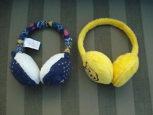 2 Children's Ear Muffs - One Vintage Pudsey Bear