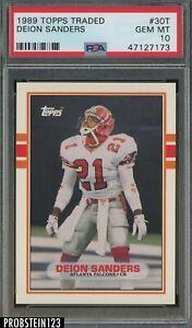 1989 Topps Traded Football #30T Deion Sanders Falcons RC Rookie HOF PSA 10