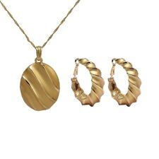 Ladies 18K Gold Filled Scroll Necklace Pendant & Earring Womens Party Set.